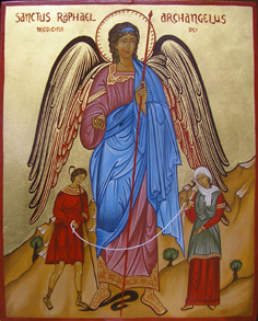 Raffaele, arcangelo con Tobia e Sara